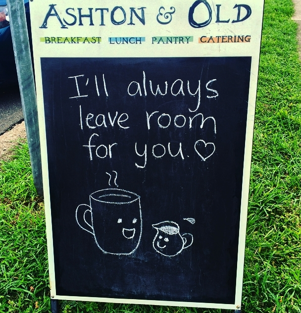 ashton & old cafe, ashton and old, cafe, coffee, coffee sign, sign board, cafe, brisbane, breakfast, brunch, foodie,