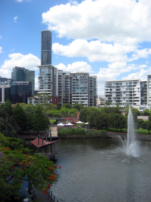 the lake at Roma Street Parklands with the barbecue area in the background