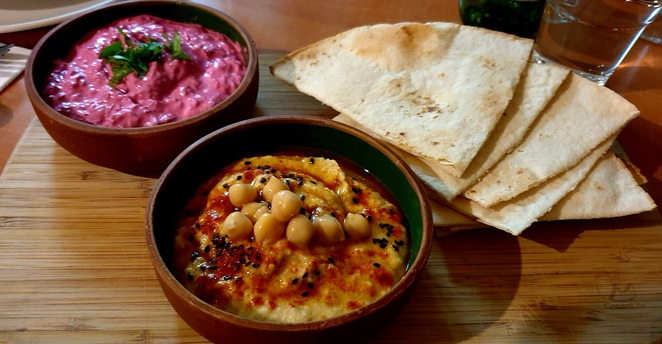 Entrees, dips, hummus, vegetarian, Persian, dinner
