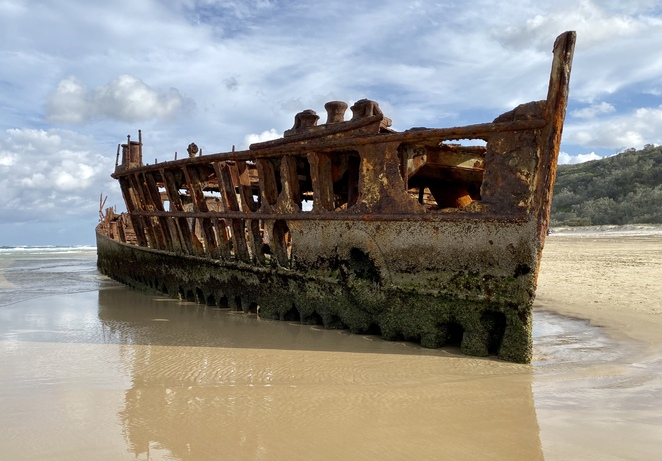 The Maheno Wreck has called 75 Mile Beach home since 1935
