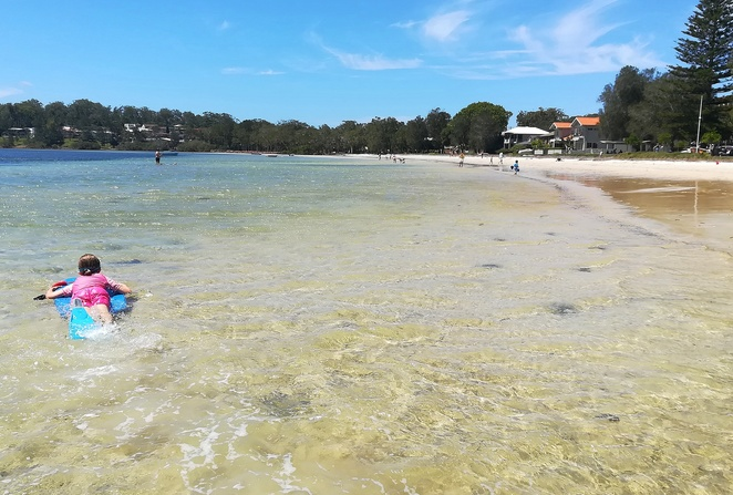 ray woods reserve, corlette, swimming bays, beaches, port stephens, NSW, family friendly, swimming, where to go, nelson bay, best beaches for kids, children, toddlers, shady, BBQs, toilet facilities,