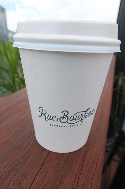 Rue Bourbon, Buderim, shipping container, vacant lot, ample parking, dog friendly, early morning openings, coffees, teas, chocolate, hot or iced, Karma Cola, Kombucha, open 6 days a week, spectacular views