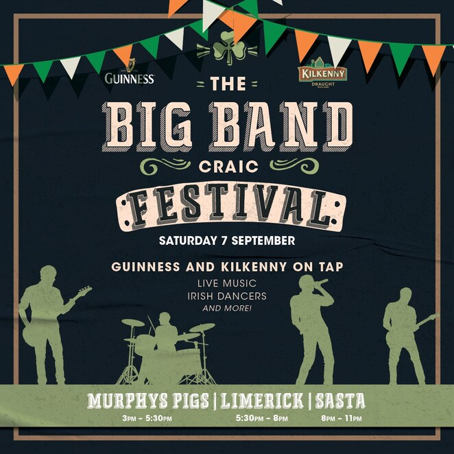 the big band craic festival 2019, community event, fun things to do, the colmslie hotel, murphy's pigs, limerick modern celtic band, free event, celebrating everything irish, irish festival, best irish bands, sasta, guiness, kilkenny, pub, bar, hotel, night life, date night