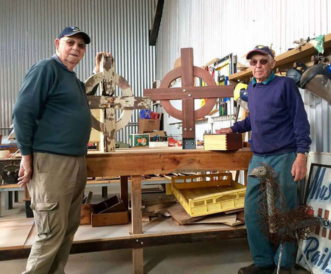 The Fixit Fellas Super Shed Sale at the South West Rail and Heritage Centre. Capel Men's Shed members with a cross that they were in the process of restoring for a local church.