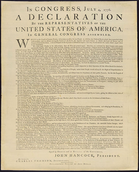 US Declaration of Independence, broadside copy, declaration, 13 American states,