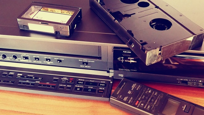 vcr, video player, video cassette