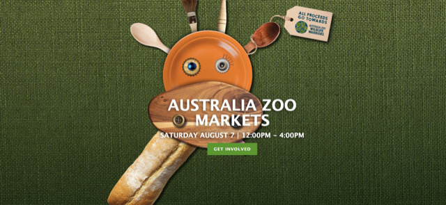 Australia Zoo Markets, worthy cause, supporting wildlife conservation, sponsored by Kennards Hire, family event, bookmark, live entertainment, food truck alley, fashion, jewellery, homewares, special deals, raffle tickets, raffle prizes, pre-loved items from Irwins, Wildlife Warriors, Australia Zoo Wildlife Hospital, Crikey!, win-win, Australia Zoo carpark