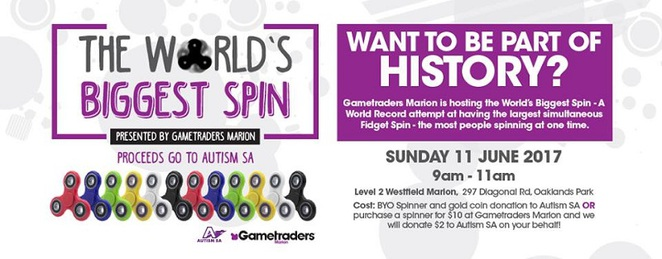 autism fundraiser, gametraders, cosplay, world record attempt, spinners