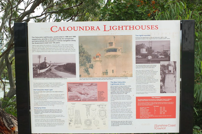 Caloundra Lighthouses, Canberra Terrace, views of ocean and Glasshouse Mountains, 1986, Royal Australian Navy observation post, Queensland Heritage Listed, Lions Club of Caloundra Memorial Park, Open every second and fourth Saturday of the month, $2 entry for adults, Friends of the Caloundra Lighthouses
