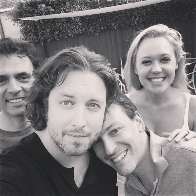Clara Helms with her recording studio team: engineer Jorge Vivo, producer Thomas Spencer and lyricist Fabrizio Mancinelli.