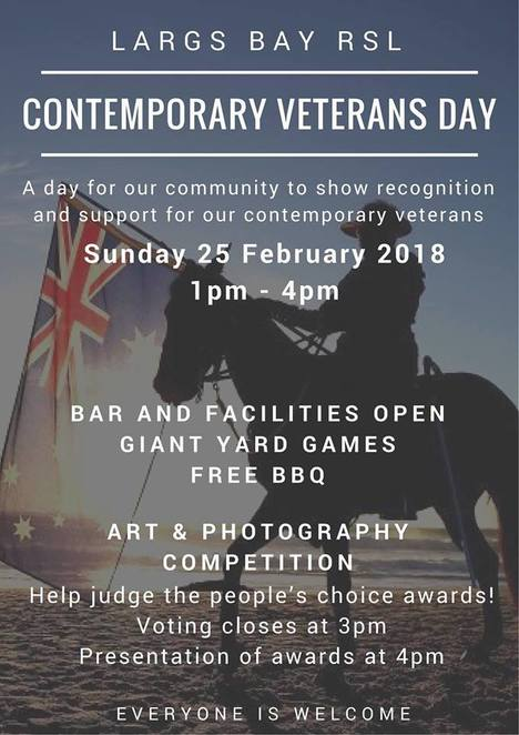 contemporary veterans day, anzac day, rsl, bbq, giant yard games, bar, club, inaugural contemporary veterans art and photography competition, people's choice award