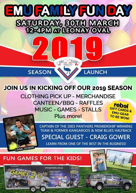 emu family fun day 2019, community event, fun things to do, sporting season launch, emu plains, canteen, bbq, raffles, music, gakes, market stalls, craig gower special guest, panthers premiership, kids activities, entertainment, sport, rugby league junior