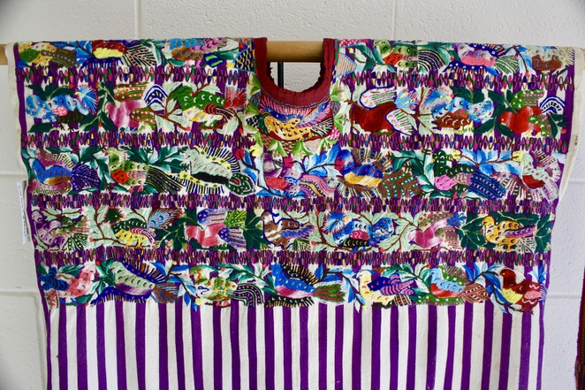 Vintage Guatemalan huipul hand woven cotton and hand stitched with birds. From Chichicastenga market in 1960.