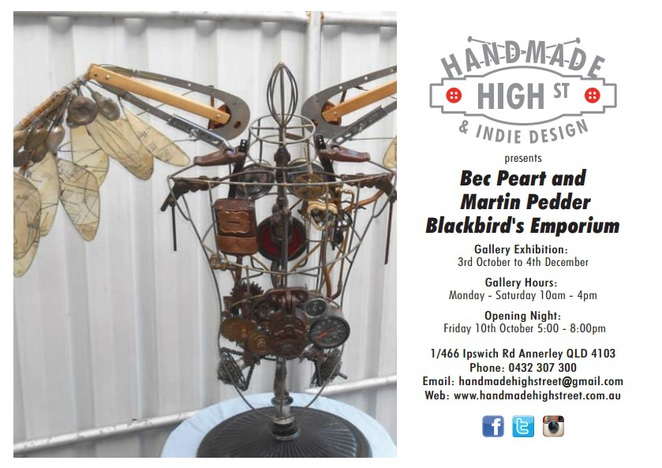 Handmade high Street, Annerley, Gallery, Artwork, Exhibition, Showcase, Opening, Steam Punk, Clockwork
