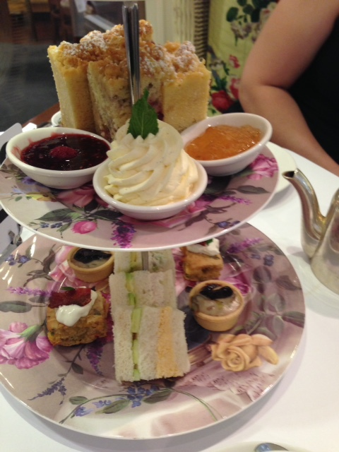 high tea room with roses