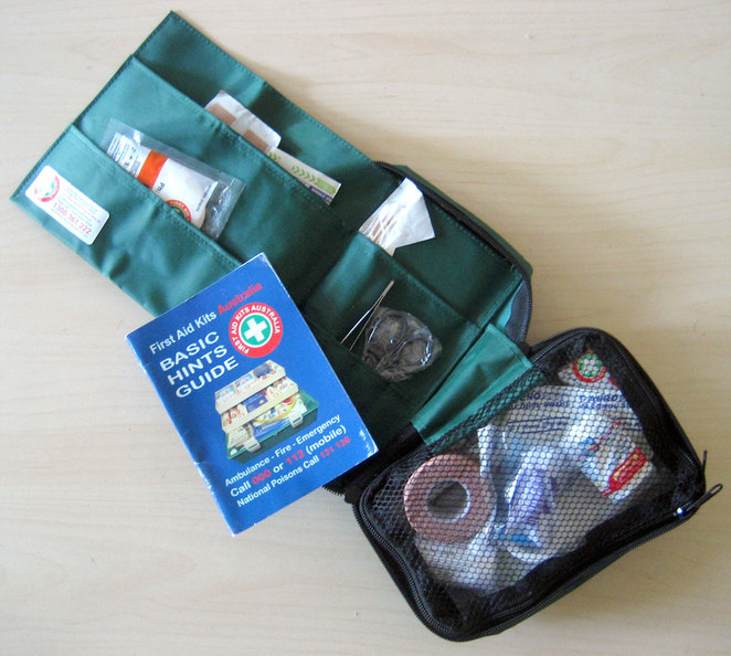 First Aid Kit and Manual, large enough to be a group first aid kit