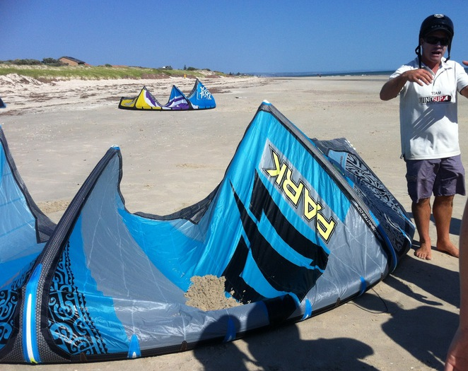 Instructor Matt Stringer explaining the basics of kitesurfing