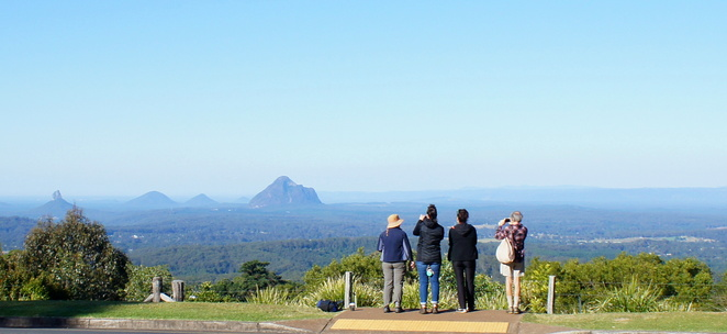 Enjoying the view of the Glass House Mountains from Mary Cairncross Reserve