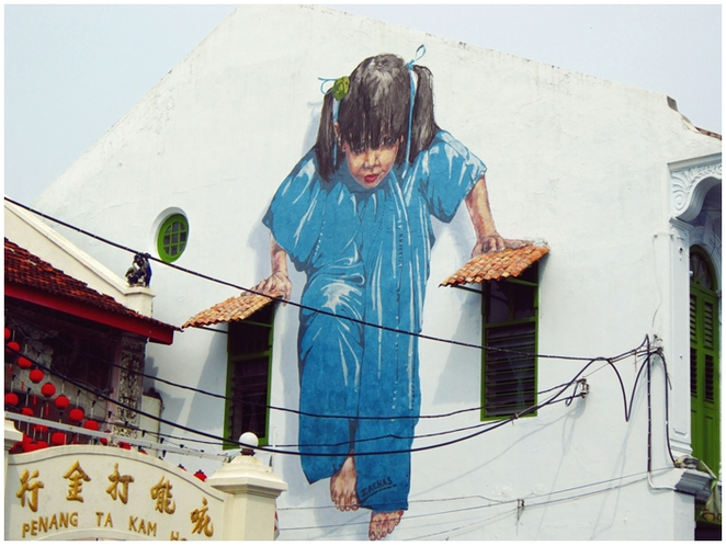 Muntri Street, Penang Street Art, Mural, Ernest Zacharevic, Little Girl in Blue