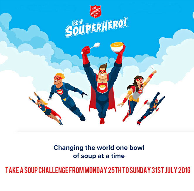 souphero, be a souphero, superhero, charity, fundraiser, the salvation army, disadvantaged, hardship, support, medical