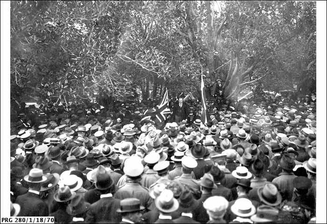speakers corner, botanic park, in adelaide, adelaide, botanic gardens, salvation army, labor party, don dunstan, police, large crowd