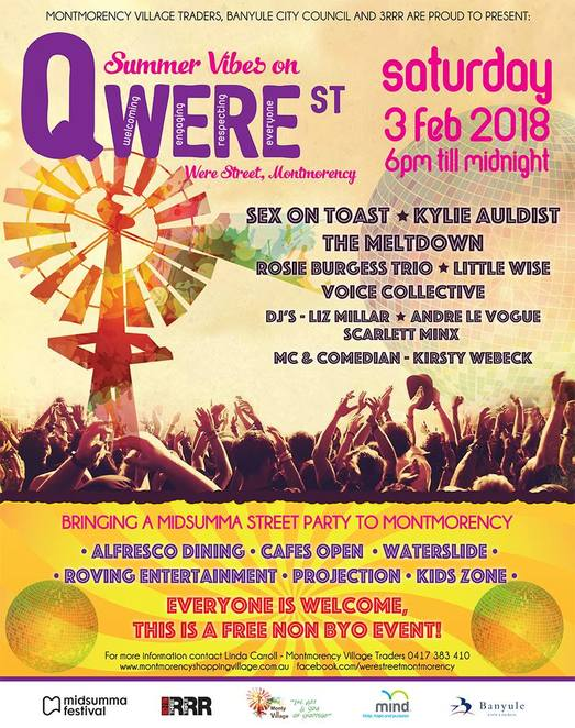 summer vibes on qwere st, st montmorency, community event, fun things to do, montmorency village traders, banyule city council, 3rrr, midsumma street party, kirsty webeck, dancing, fun tings to do, soul, r&b, funk, folk and dance, sex on toast, oh its raw, early 80s funk, kylie auldist, sould and disco queen, the meltdown, country soul, stax and motown, rosie burgess, blues and gypsy roots, little wise, folk and americana, local choir, the voice collective, activities, dance chill zone, djs liz millar, scarlett minx, andre le vogue, projections, electric light brigade, liquid light show workshops, kids zone, jumping castle, face paining, polly poppitt activities, waterslide, alfresco dining, food and drink, family fun