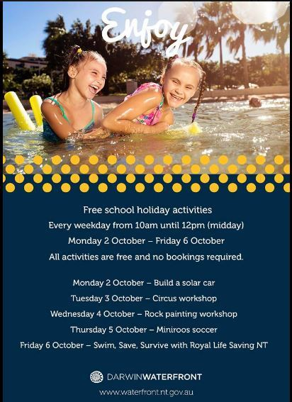 The Waterfront Darwin, Darwin, free activities, school holiday, free school holiday program, Wave Lagoon