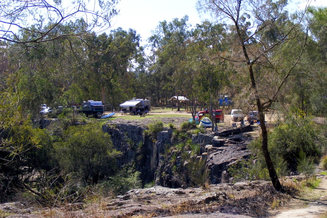 Camp on the top of a the falls at Tooloom Falls