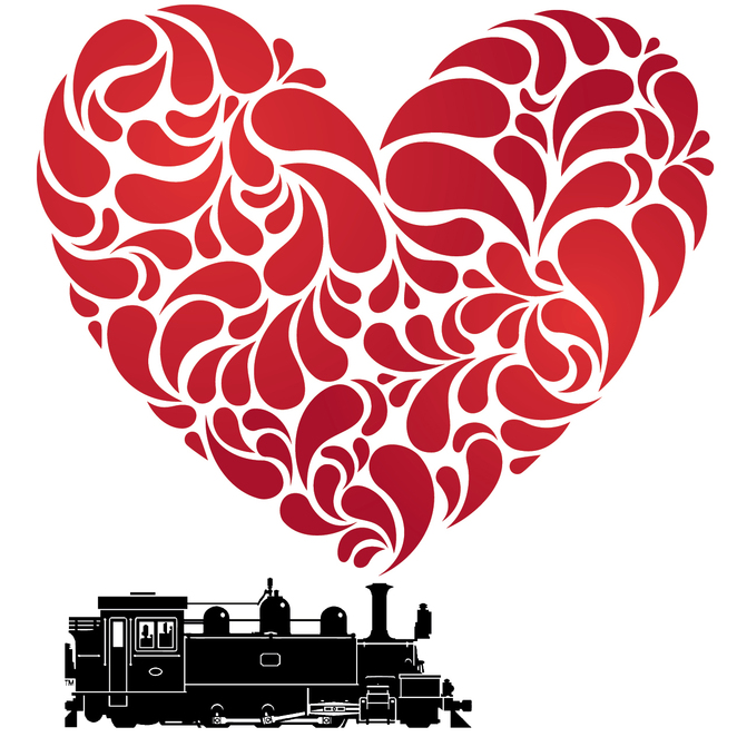 train,silhouette,heart,red,romance,valentine,puffing,billy,train