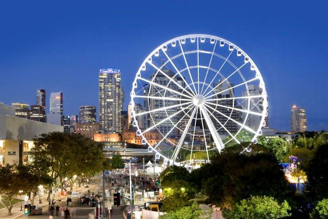 wheel of brisbane, southbank, riverfire