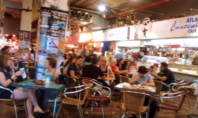 adelaide central market, food court, lunch time