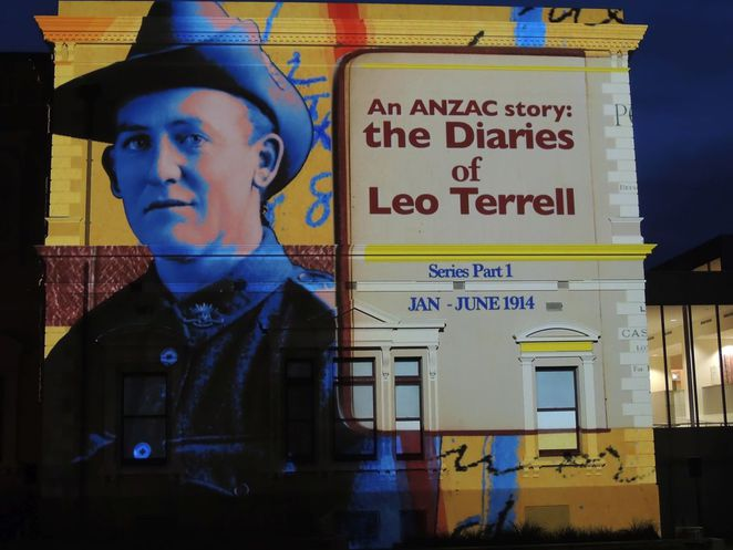 anzac day, anzac day projections, anzac day projections in sa, illuminart, world war, world war 1, south australia, anzac day, diaries of leo terrell