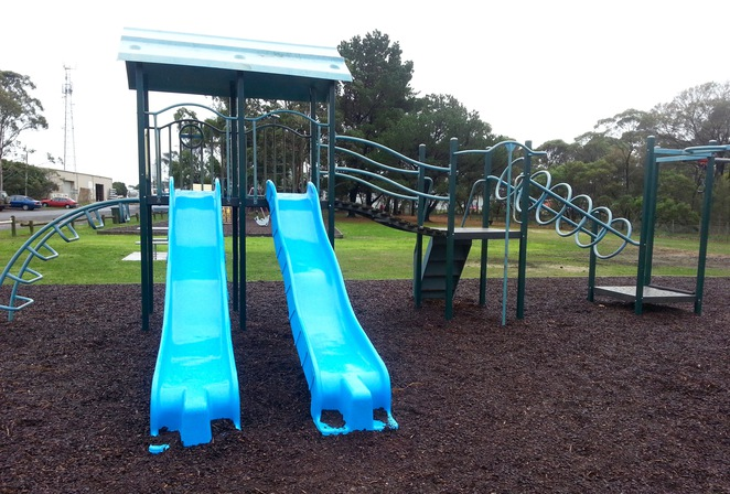 Blue slides, playground, twin slides