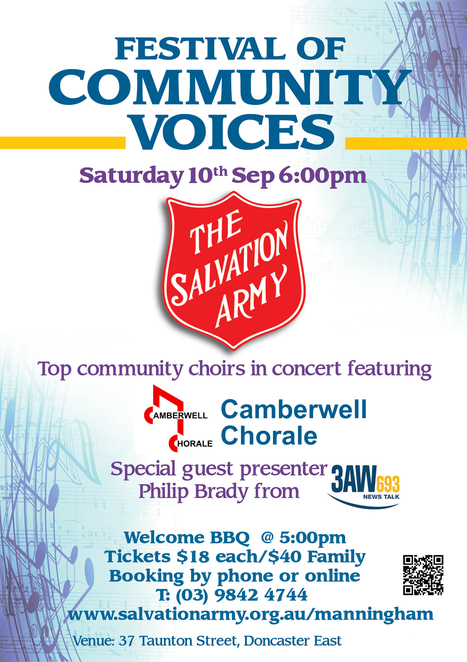 festival of community voices 2016, the salvation army mannigham, 3AW, philip brady, feature choir, camberwell chorale, doug heywood, the melbournaires, the australian girl's choir, birralee primary school choir, the bellbird singers, welcome bbq