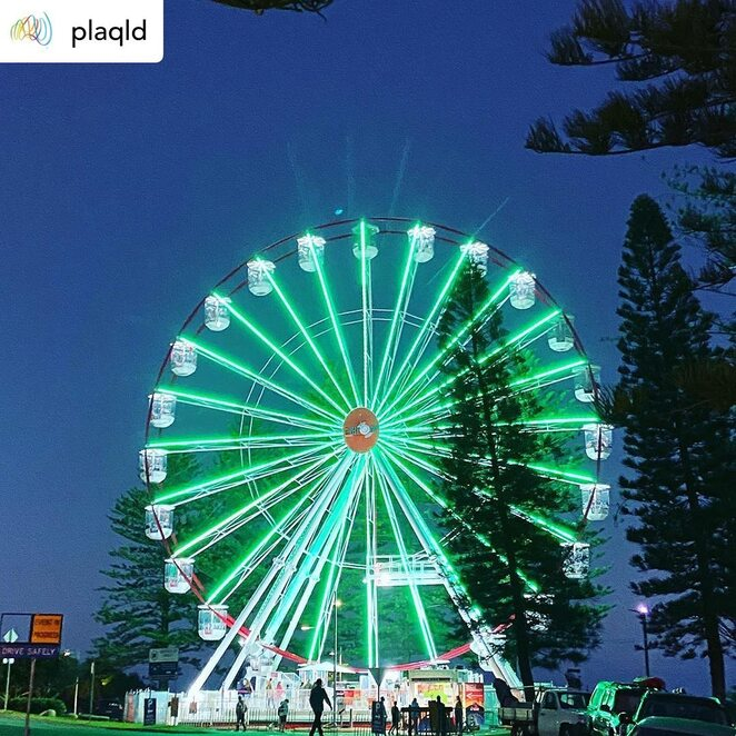 Hot 91 Giant Wheel Returns to Caloundra, ferris wheel, winter school holidays, Bulcock Beach, Esplanade, day trippers, holidaymakers, locals, life from a-high, fun-loving adventurers, sweeping views, hinterland mountains, distant shores, winter-perfect azure seas, bustling little coastal resort towns, comfiness of a pod, twenty-four gondolas, panoramic landscapes, lifelong memories, day or night, special date, marriage proposal, boost Instagram game, nine thousand lights, enviable photography, Downtown Caloundra, Sunshine Coast Council, Shop Caloundra, SkyLine Attractions, Covid-safe, Downtown Caloundra Street Art Trail, street murals, Twilight Markets
