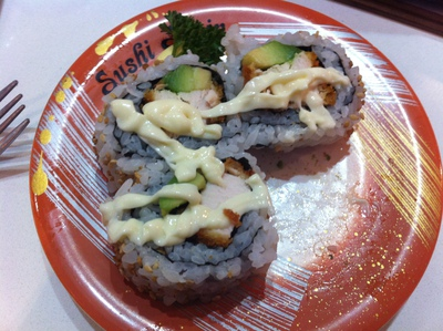Chicken and avocado sushi with mayonnaise @ Carseldine Sushi Train