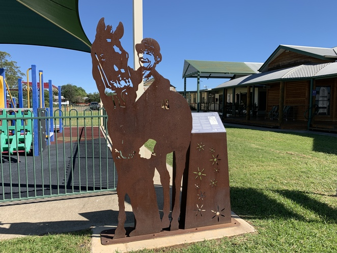 Injune Visitor Information Centre, Injune, Carnarvon Gorge National Park, Heated swimming pool, Library, Café On Second, Spar Supermarket Injune, Characters of Injune statues,