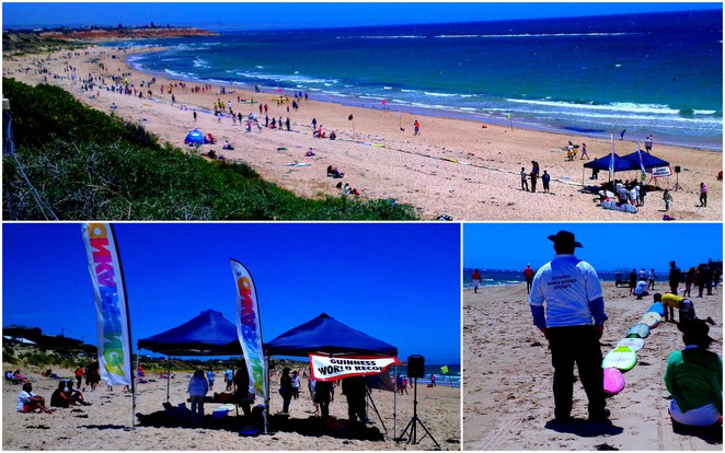 longest line of surfboards world record, surfboards at port noarlunga, guinness world record surfboards in the sand