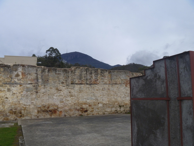 Yard 1 at Cascades Female Factory with Mt Wellington peeking over