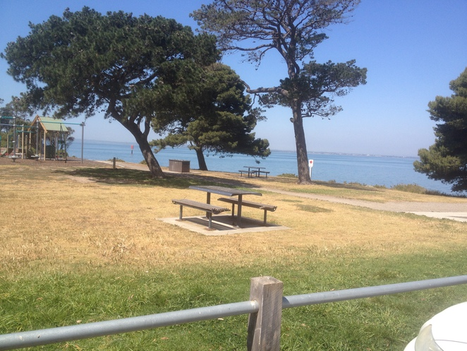 Tables and chairs, barbecues, Corio Bay