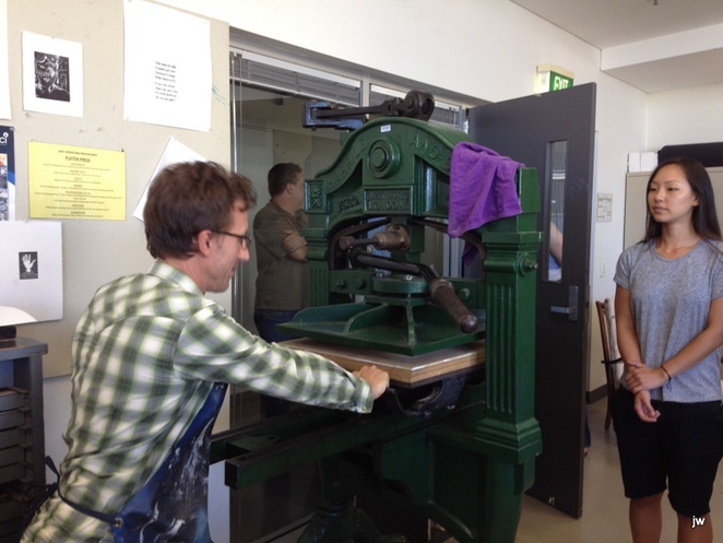printing press, relief printing, wood engraving, workshop, David Frazer, ACA