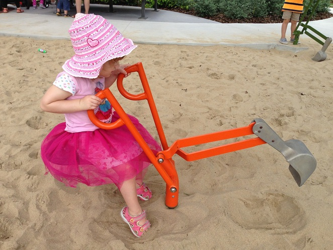 sandpit with diggers