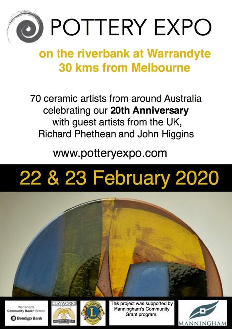 the pottery expo 2020, community event, fun things to do, market stalls, workshops, shopping, ceramics, warrandyte pottery expo 2020, ceramic artists, guest artists uk potters, richard phethean, john higgins, manningham community, jane annois, helen fuller, jane sawyer, megan patey, holly mcdonald, group exhibition, music program, live music, roving musicians, black cat bone, tent talks with slow clay, prizes, demonstratins, clay activities, food and beverages, light show, marc pascal, dinner