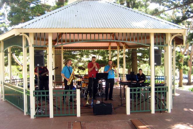 Jazz musicians play in the rotunda at Picnic Point during the Toowoomba Flower Festival