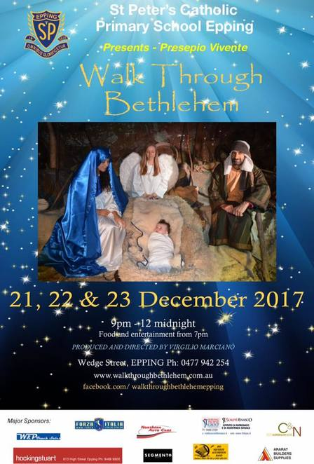 walk through bethlehem 2018, st peter's school, epping, christmas experience, christmas event, family fun, community event, fun thigns to do, birth of jesus, spinners, weavers, blacksmiths, carpenters, potters, bakers, ancient crafts and trades, farm animals, romans, palace of king herod, the three kings from the east, mary joseph and baby jesus, food trucks, sausage sizzle, live entertainment