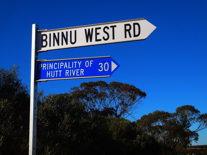binnu road west, hutt river, binnu road, sign, principality, micronation