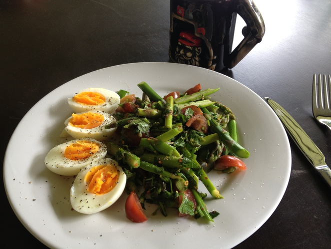 boiled eggs, asparagus, brunch