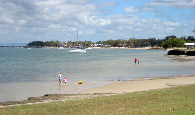The walk starts by the quiet waters of Bongaree