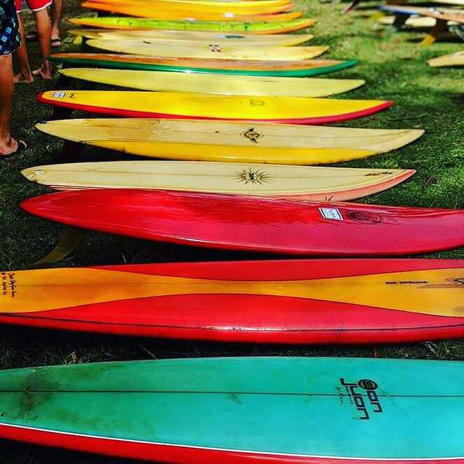 Browse the display of retro pre-made 1985 surfboards this weekend: image courtesy Facebook