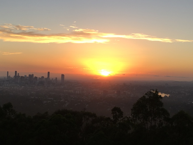 City and lakes at dawn Mt Coot tha